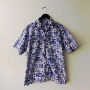 VINTAGE Rum Reggae Hawaiian Button Up Shirt Blue L